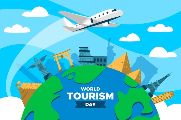 Flat world tourism day with airplane Free Vector