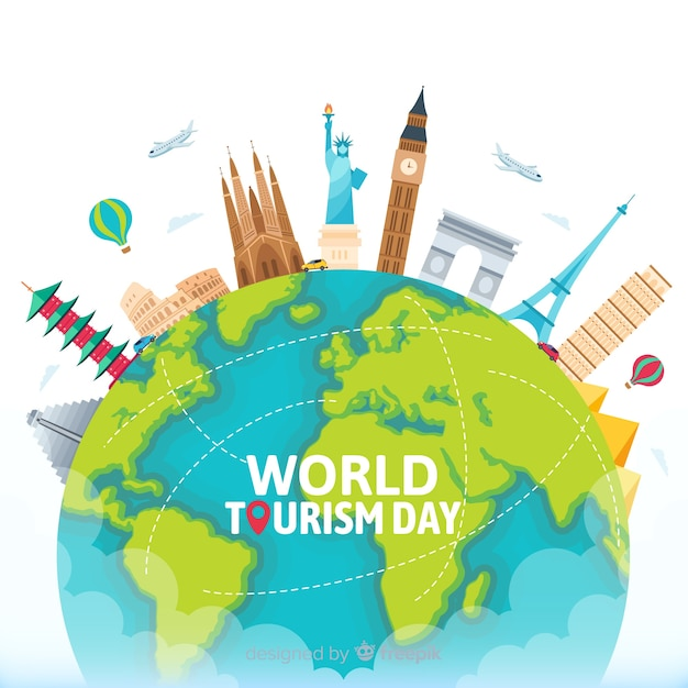 Flat world tourism day with landmarks and transport Free Vector