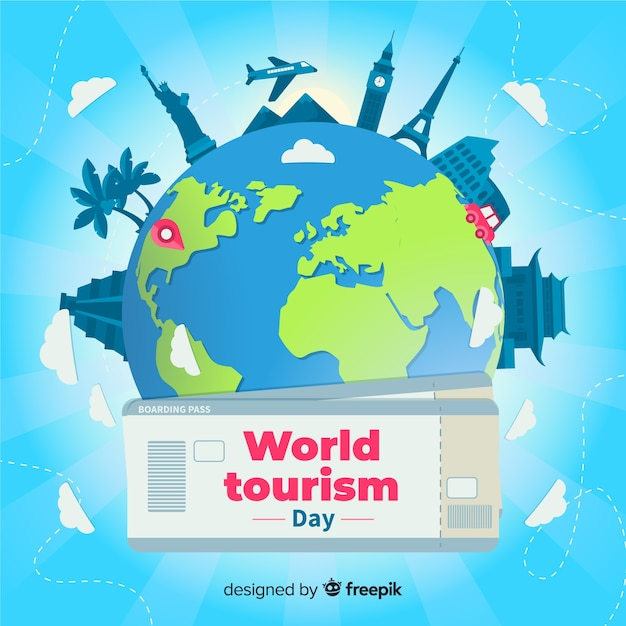 Flat world tourism day with tickets Free Vector