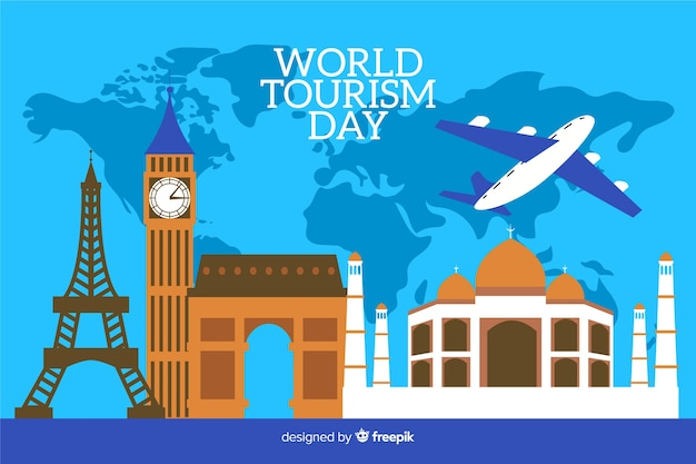 Flat world tourism day with world map in background Free Vector