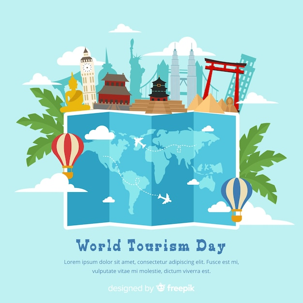 Flat world tourism day Free Vector
