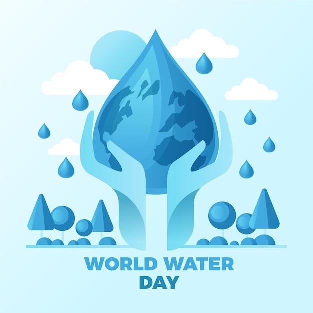 フラットな世界水の日のイラスト 無料ベクター