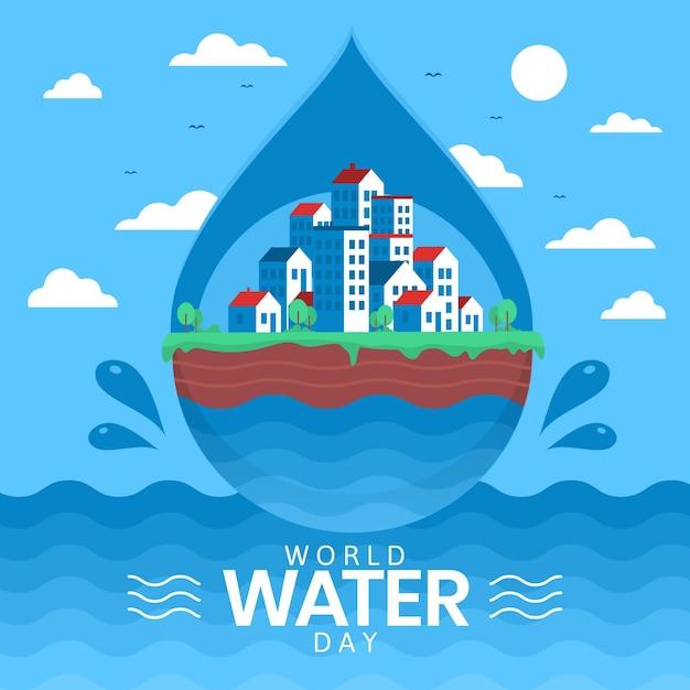 Плоский всемирный день воды иллюстрация Бесплатные векторы