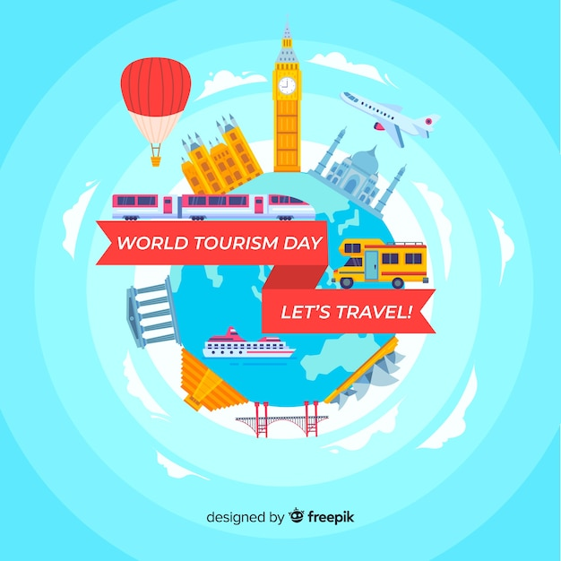 Flat world with landmarks and transport tourism day background Free Vector