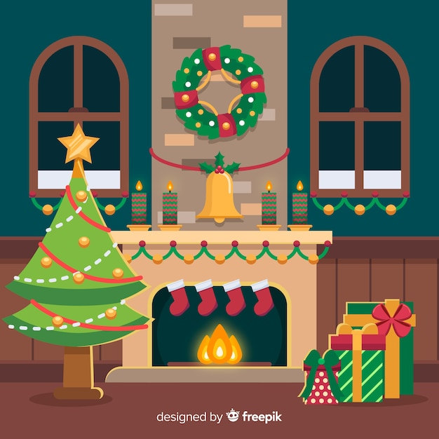 Flat wreath christmas fireplace scene Free Vector