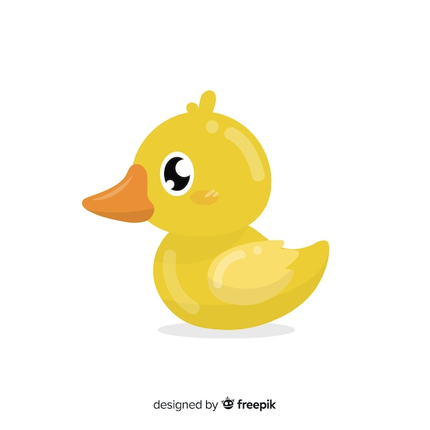 Плоская желтая резиновая детская утка на белом фоне Бесплатные векторы