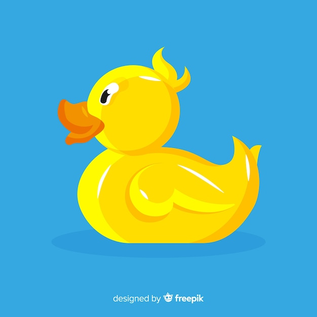 Flat yellow rubber duck illustration Free Vector
