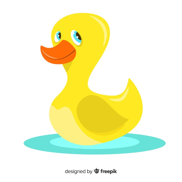 Flat yellow rubber duck looking up Free Vector