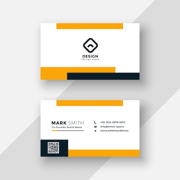 Flat yellow and white business card design Free Vector