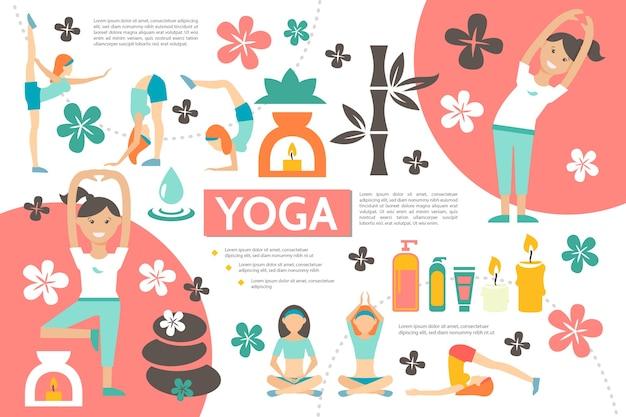 다른 피트니스에서 운동하는 여자와 플랫 요가 인포 그래픽 템플릿은 대나무 스파 화장품 꽃 돌 촛불 그림 포즈 무료 벡터