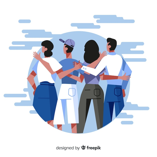 Flat young people hugging together Free Vector