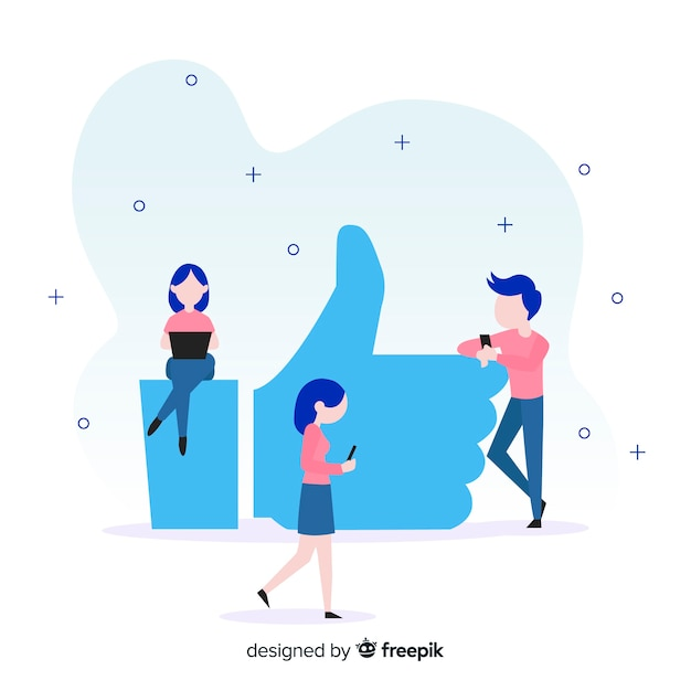 Flat young people social media like concept background Free Vector