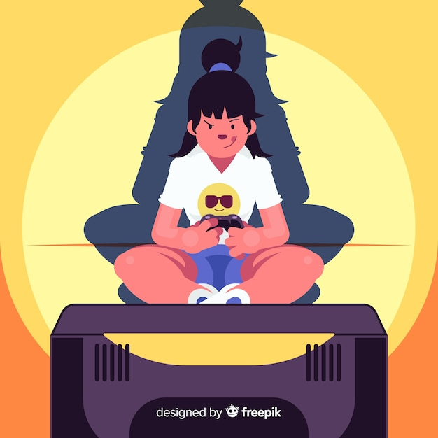 Flat young woman playing videogames Free Vector