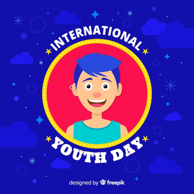 Flat youth day background Free Vector