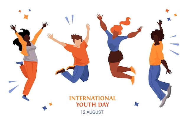 Flat youth day - jumping people Free Vector