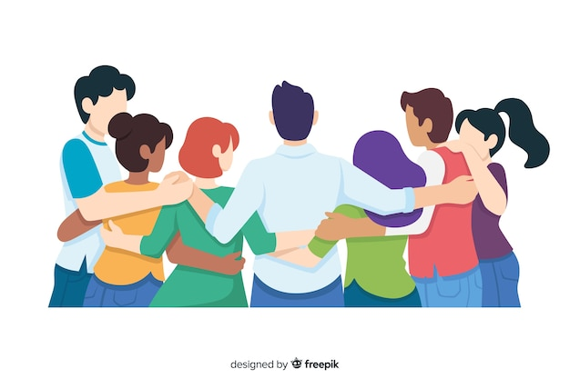 Flat youth people hugging together Free Vector