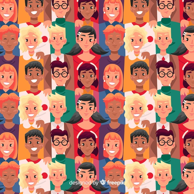 Flat youth smiling people pattern Free Vector
