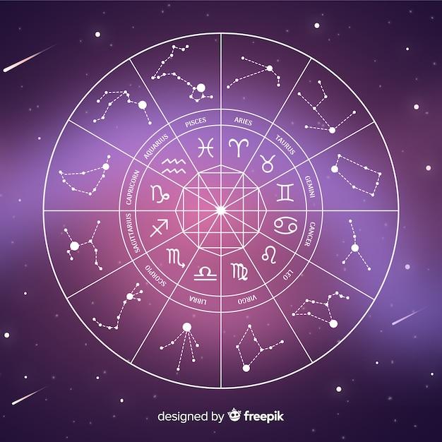 Flat zodiac wheel on galaxy background Free Vector