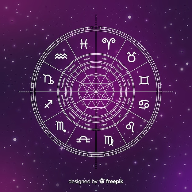 Ruota dello zodiaco piatto su sfondo di galassia Vettore gratuito