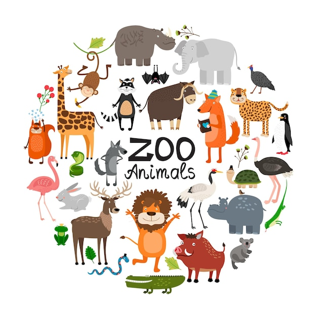 Плоские животные зоопарка круглая концепция с жирафом, леопардом, кабаном, белкой, бегемотом, игуаной, львом, оленем, слоном, обезьяной, лисой, енотом, летучей мышью, птицы, иллюстрация Бесплатные векторы