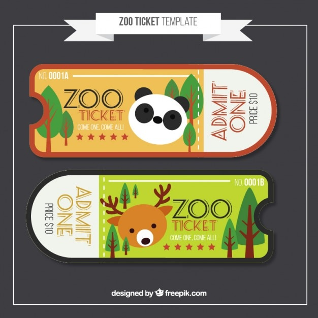 Flat zoo tickets with panda and deer Free Vector