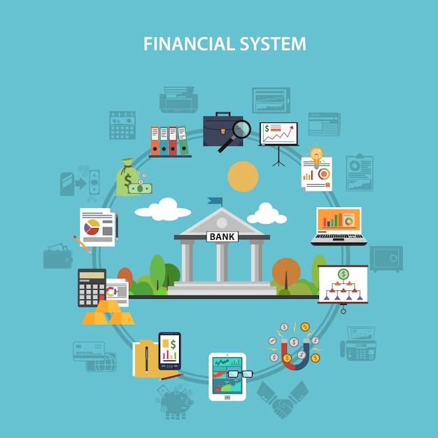 Финансовая концепция flat Бесплатные векторы