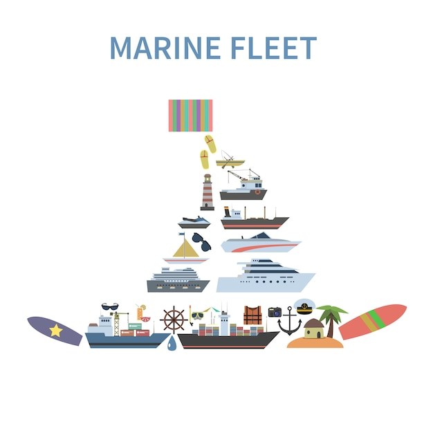 Корабль концепция flat Бесплатные векторы
