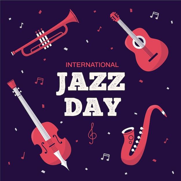 Международный день джаза в стиле flat Бесплатные векторы