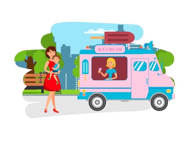 Мороженое для детей в парке flat иллюстрации Premium векторы