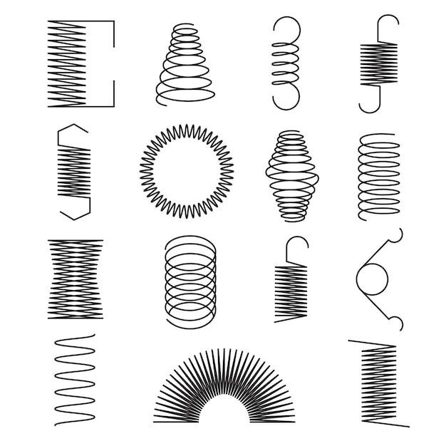 Flexible metallic spiral lines set Premium Vector