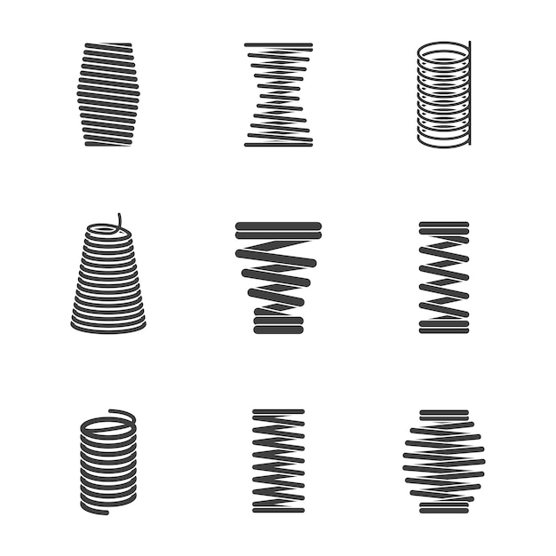 Flexible steel spiral. metal bended wire coils shape elastic and compacted forms vector icon silhouettes isolated Premium Vector