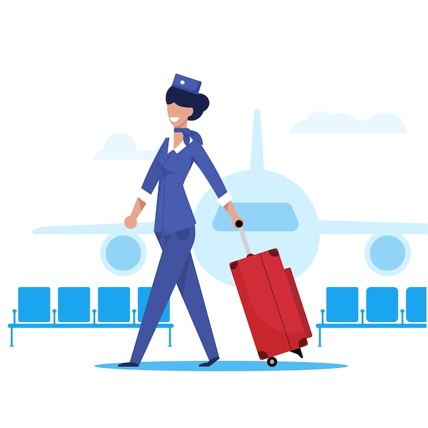 Flight attendant an airplane flat illustration Premium Vector