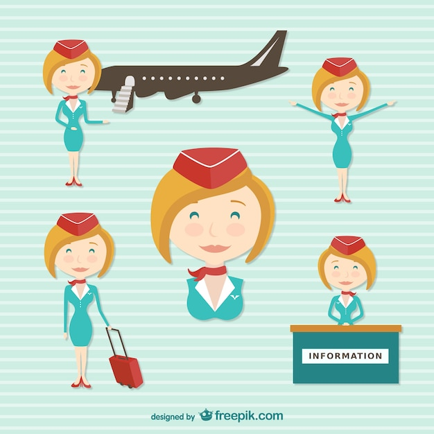 Flight attendant cartoon character Free Vector