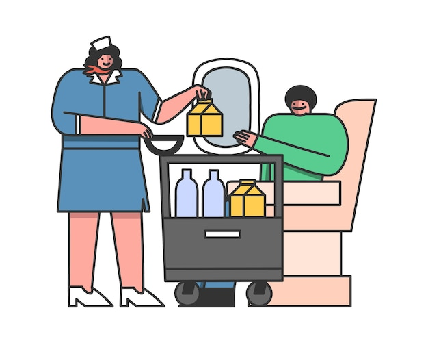 客室乗務員はカートから乗客まで機内で食事を提供します Premiumベクター