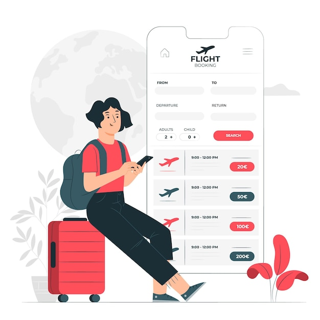 Иллюстрация концепции бронирования рейса Бесплатные векторы