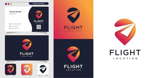 Flight location logo and business card design. pin, map, location, flight, plane, icon premium Premium Vector