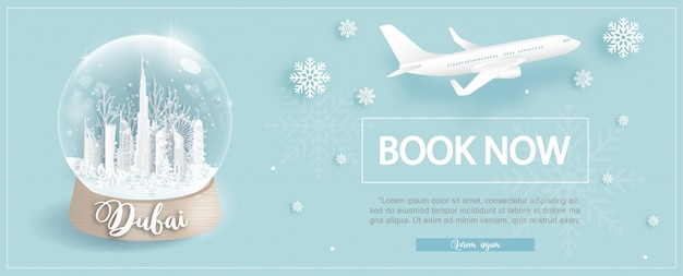 Flight and ticket advertising template with travel to dubai with winter deal Premium Vector