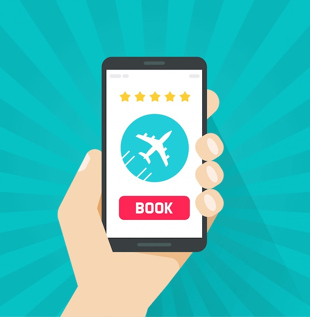 Flight tickets book online from internet via cellphone or mobile phone Premium Vector