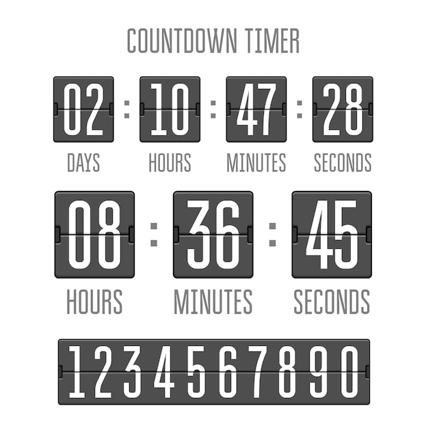 Flip countdown clock counter timer on white Premium Vector