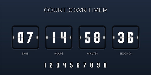 Flip countdown timer  template for website and application Premium Vector