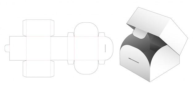 Flip square box die cut template Premium Vector