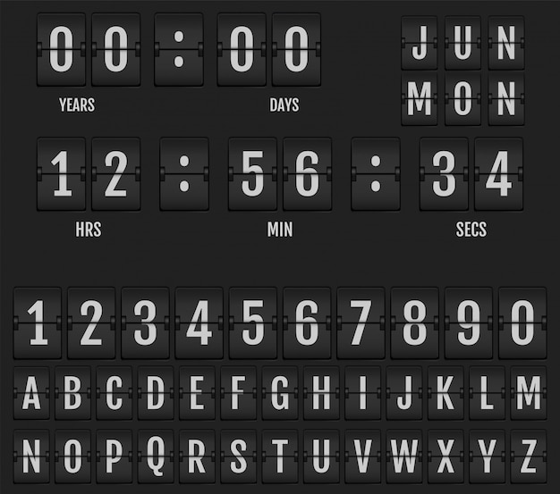 Flip table clock calendar and timer. Premium Vector