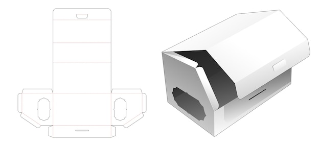 Flip top chamfered long box with window die cut template Premium Vector