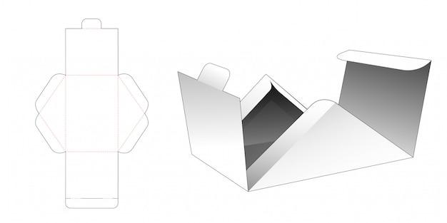 Flips triangular box die cut template Premium Vector