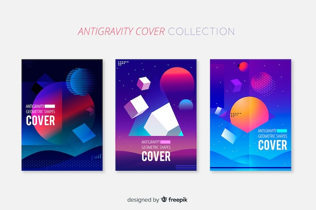 Floating 3d geometric shapes brochure pack Free Vector