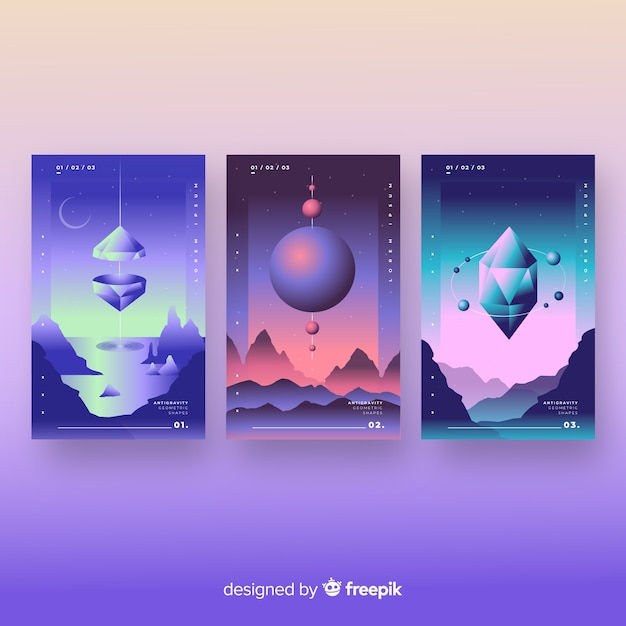 Floating 3d gradient polygons brochure collection Free Vector