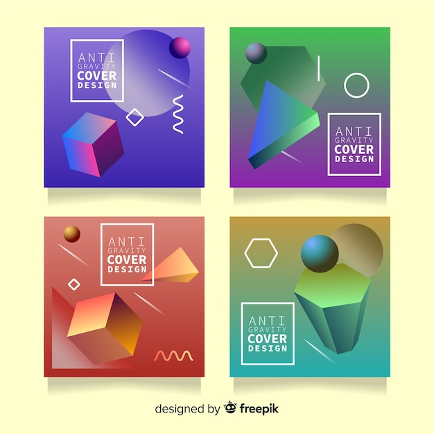 Floating 3d polygons cover pack Free Vector