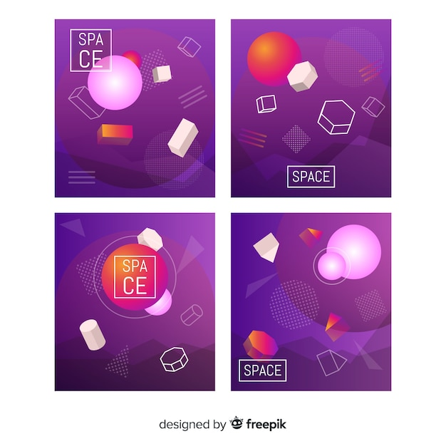 Floating 3d shapes brochure template collection Free Vector