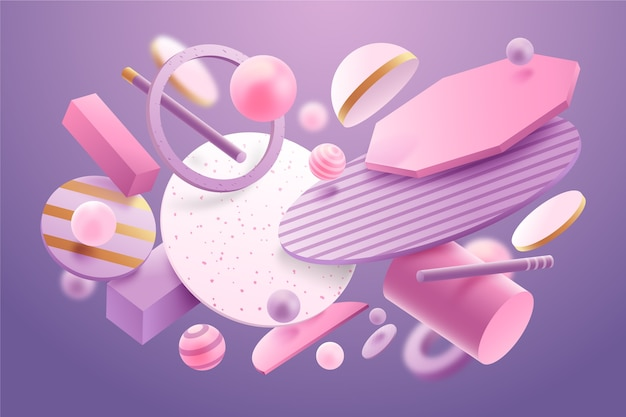 Floating abstract shapes background Free Vector