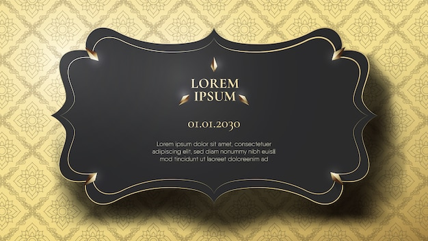 Floating black frame on abstract connecting gold thai pattern Premium Vector